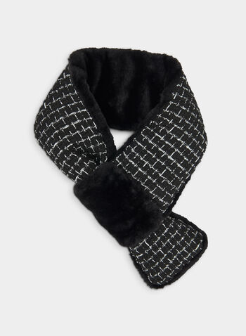 Tweed Faux Fur Scarf, Black,