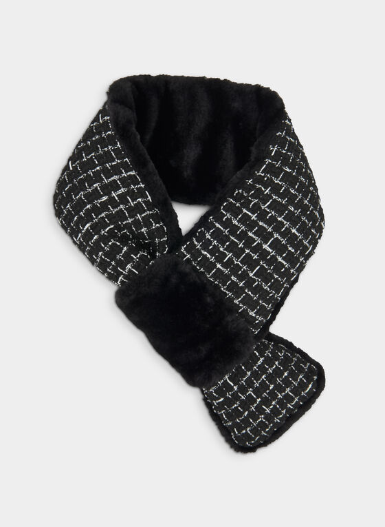 Tweed Faux Fur Scarf, Black, hi-res