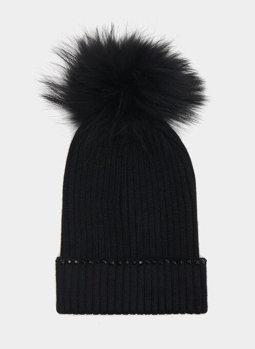 Fur Pompom Beaded Tuque, Black, hi-res