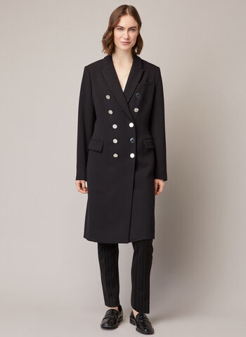 Military Style Notched Collar Coat, Black,  fall winter 2020, coat, double breasted, military, notched collar