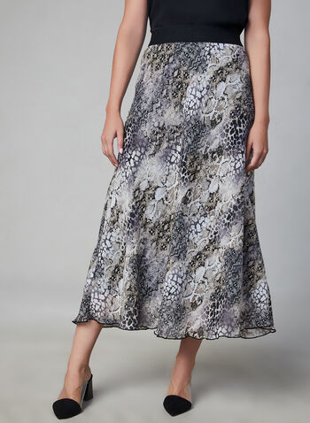 Animal Print Skirt, Black, hi-res,  fall winter 2019, chiffon, midi skirt, animal print