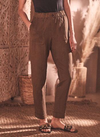Linen Blend Straight Leg Pants, Green,  pants, straight leg, linen, pockets, tapered, spring summer 2020