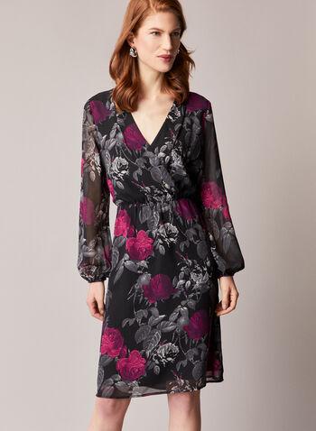 Robe à motif floral et manches ballon, Noir,  robe, motif, floral, manches longues, encolure en V, taille cintrée, mousseline, automne hiver 2020