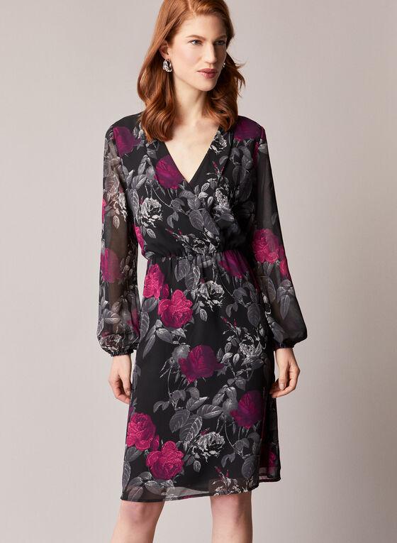 Floral Print Balloon Sleeve Dress, Black