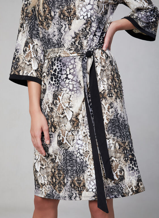 Snakeskin Print Dress, Black, hi-res