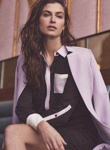 Chemisier à blocs de couleurs, Noir,  blouse, chemisier, manches longues, boutons, blocs de couleurs, crêpe, printemps été 2021