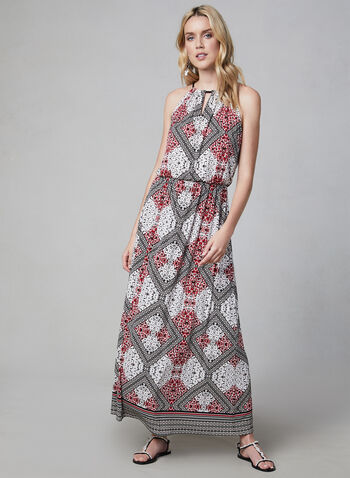 Maggy London - Abstract Print Maxi Dress, Black, hi-res