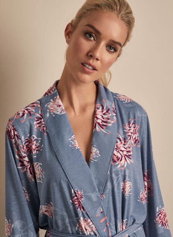 Comfort & Co. - Peignoir à motif floral, Bleu