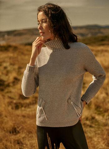 Chenille Turtleneck Sweater, Grey,  sweater, knit, turtleneck, long sleeves, zipper pockets, chenille, fall winter 2021