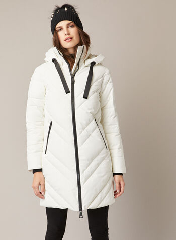 Vegan Down Quilted Coat, Off White,  fall winter 2020, warm, coat, vegan down, quilted, stand collar, hood, ribbon drawstring, grosgrain, long sleeve, large zipper, water repellent, diagonal quilting, machine washable, melanie lyne label, outerwear
