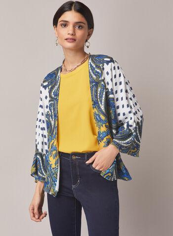 Haut ouvert à motif cachemire , Multi,  haut, kimono, manches 3/4, coupe ouverte, motif cachemire, crêpe, automne hiver 2020