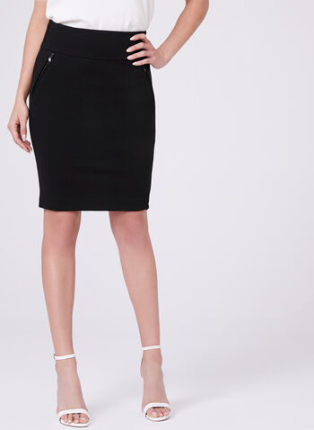 Ponte Pull-On Pencil Skirt, Black, hi-res