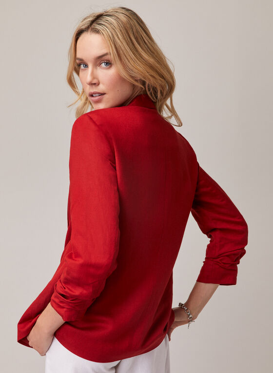 Open Front Linen Blazer, Red