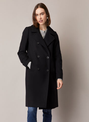 Double Breasted Wool Blend Coat, Black,  coat, double breasted, pockets, wool, fall winter 2020