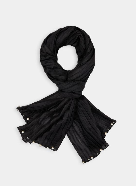 Foulard léger plissé à détails perles, Noir