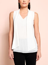 Sleeveless Tie Front Pleated Blouse, , hi-res