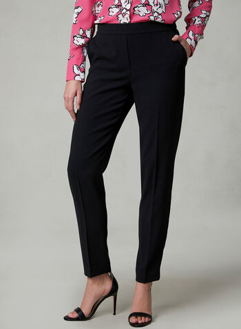 Rachel Slim Leg Crepe Pants, Black, hi-res