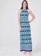 Sandra Darren - Ikat Print Halter Dress, Blue, hi-res