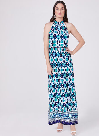 Sandra Darren - Ikat Print Halter Dress, Blue, hi-res