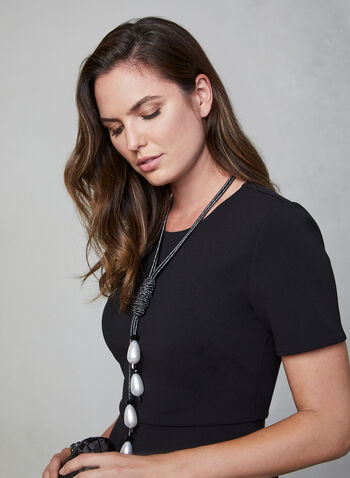 Vince Camuto - Asymmetrical Blouse, Black,  Vince Camuto, blouse, top, short sleeves, scuba crepe, asymmetrical, fall 2019, winter 2019