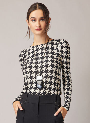 Houndstooth Print Long Sleeve Top, Black,  fall winter 2020, top, leg of mutton sleeves, houndstooth, stretchy
