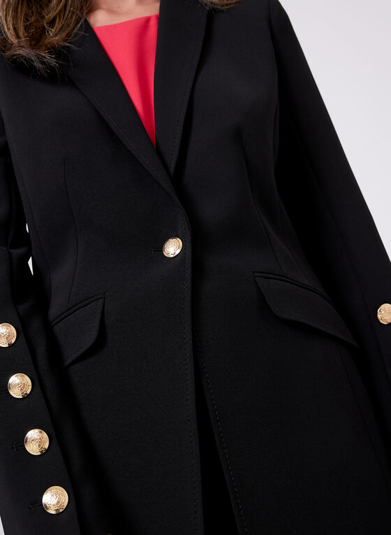 Notched Collar Button Detail Blazer, Black, hi-res
