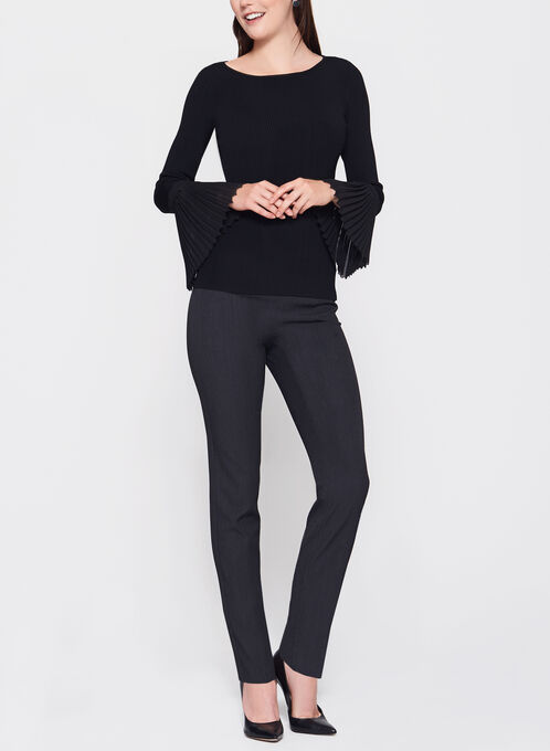 Chiffon Bell Sleeve Knit Sweater, Black, hi-res