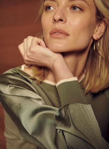 Raglan Silk Sleeve Sweater, Green,  spring summer 2021, top, sweater, knit, long sleeve, contrast rib knit, round neck, raglan, silk, silky, sweater