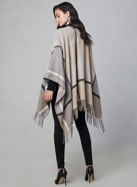 Foulard pashmina motif tartan, Gris, hi-res