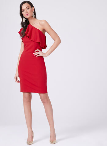 Vince Camuto - Shoulder Ruffle Sheath Dress, Red, hi-res