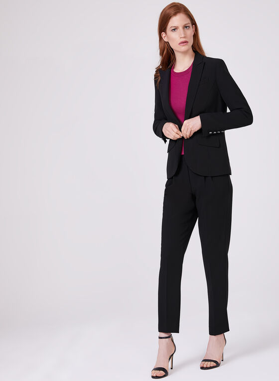 Notched Collar Blazer, Black, hi-res