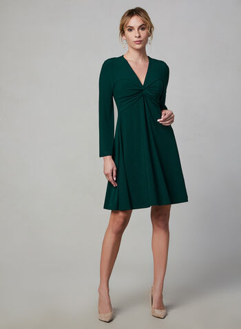 Maggy London - Crepe Dress, Green, hi-res,  Maggy London, dress, day dress, long sleeves, bell sleeves, crepe, V-neck, fall 2019, winter 2019