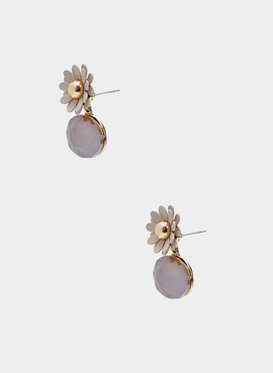 Flower & Stone Button Earrings, Off White, hi-res