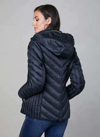 Anne Klein - Short Down Quilt Coat, Blue,  packable coat, quilt coat, down coat, coat, light coat, transition coat, chevron quilt, hood, pockets, zipper, fall 2019, winter 2019