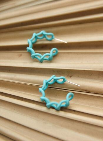 Twisting Hoop Earrings, Green,  spring summer 2021, accessory, accessories, earrings, twist, hoops, loops,