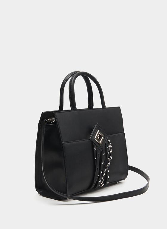 CÉLINE DION - Faux Leather Satchel, Black, hi-res