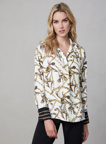 Joseph Ribkoff – Chain Print Blouse, White,  abstract print blouse