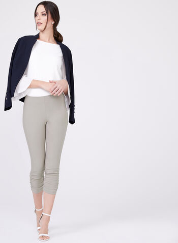 Ruched Bengaline Capri Pants, Grey, hi-res
