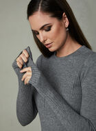 Ribbed Crew Neck Sweater, Grey, hi-res