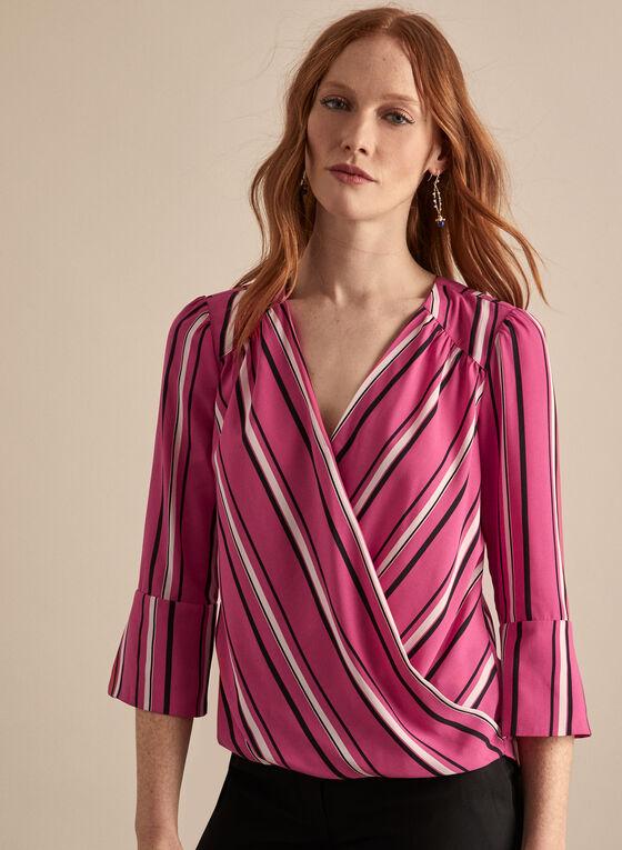Striped Faux Wrap Blouse, Red