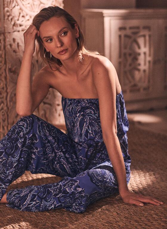 Paisley Print Strapless Jumpsuit, Blue
