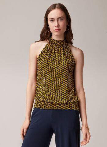 Honeycomb Print Sleeveless Blouse, Blue,  top, high neck, sleeveless, honeycomb, jersey, spring summer 2020