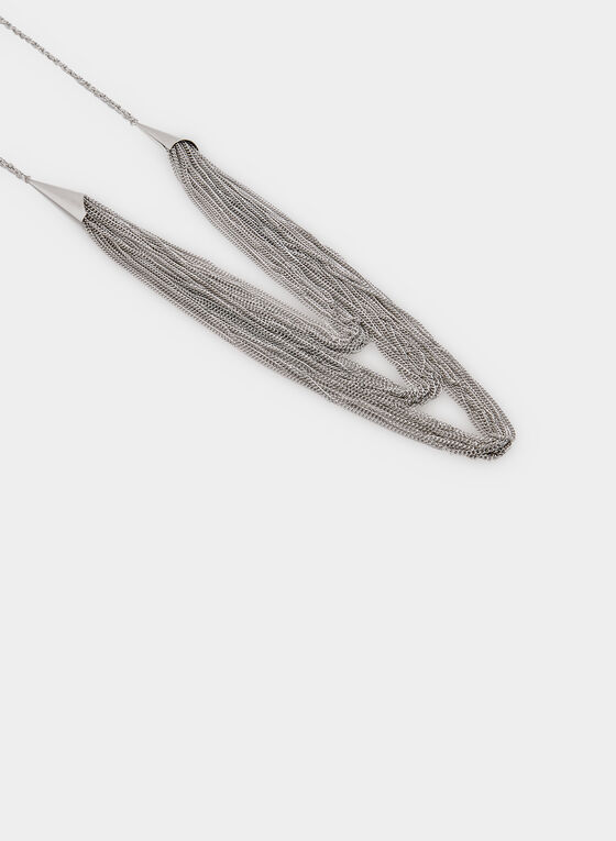 Layered Chain Necklace, Silver, hi-res