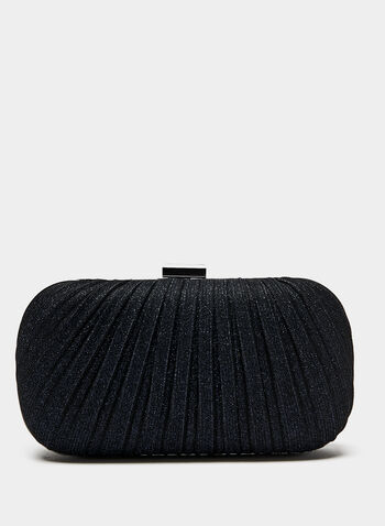 Pleated Glitter Box Clutch, Blue, hi-res