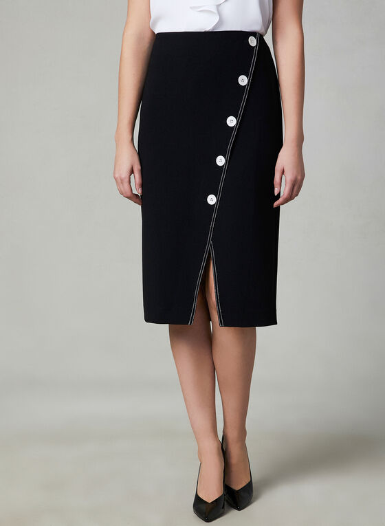 Faux Wrap Skirt, Black