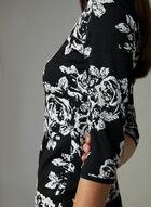 Taylor - Robe fourreau fleurie en tricot, Noir, hi-res