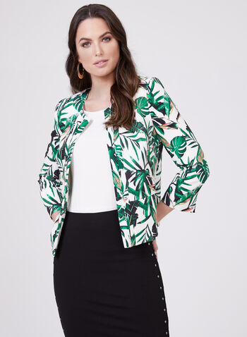 Palm Print Cropped Jacket, White, hi-res