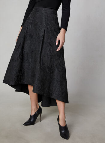 Jacquard Skirt, Black,  high-low skirt, jacquard, skirt, full skirt, tulle, fall 2019, winter 2019,