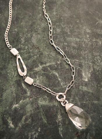 Teardrop Pendant Necklace, Silver,  spring summer 2021, jewelry, jewellery, accessories, chain, metal, teardrop