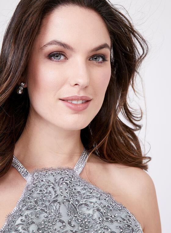 Cachet - Crystal Embellished Appliqué Gown, Silver, hi-res